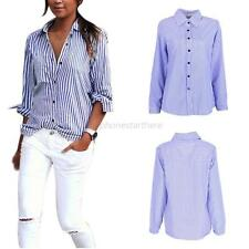 Womens Long Sleeve Vertical Striped Tops Button Down Casual Shirt Blouse T-shirt