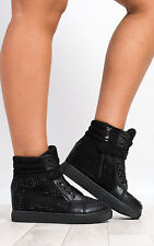 Women's Ladies Glam Diamante Shiny Lace Up Trainers