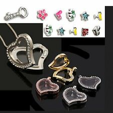 New Living Memory Floating Charms Locket Love Heart Pendant Necklace Glass Gifts