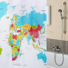 """72"""" Waterproof Solid Polyester Bath Shower Curtain Sheer Panel with 12 Hooks"""