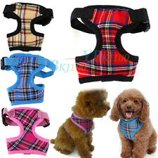4 color Adjustable Pet Dog Puppy Cat Plaid Mesh Harness Vest Clothes For Walking