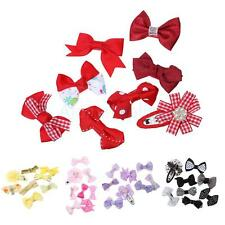 8x Handmade Boutique Girl Toddler Baby Hair Bows Clip Pins Grosgrain Ribbon Bow
