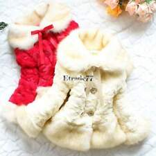 NEW Girls Baby Toddler Faux Fur Warm Fleece Pearl Flowers Jacket Coat 2-6T EA77