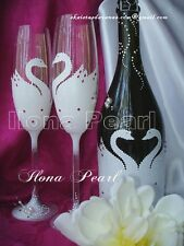Sea Beach Wedding Personalized Toasting Champagne Glasses Flutes Swan Crystal