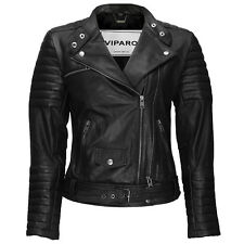 VIPARO Black Quilted Moto Biker Collar Leather Jacket - WNCQ1