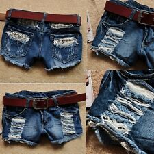 Chic Jeans Shorts Girls Sexy Low Waist Lace Cut-Off Denim Short Pants EA