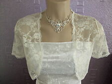 IVORY STRETCH LACE SHORT SLEEVED SHRUG BOLERO  NEW  SIZES 10-24