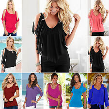 Womens Cut out Cold Shoulder T-shirt Tunic Party Tops Sexy Plus Size S-5XL
