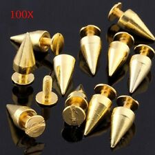 100PCS DIY Gun Metal Bullet Studs Cone Punk Spikes Spots Rivets Leathercraft