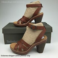 TIMBERLAND CHAUNCEY SANDALS WOMENS ANKLE STRAP HEEL BROWN LEATHER SHOES RRP £90