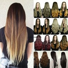 UK Mega Thick Real Stylish Dip Dye Ombre Hair Half Wig 3/4 Full Wigs Hairpiece
