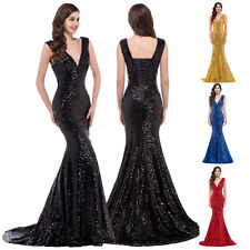 2016 Mermaid Sequins Women Formal Long Deep V Neck Bridesmaid Evening Gown Dress