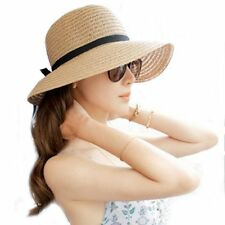 Floppy Foldable Ladies Women Straw Beach Sun Summer Hat Beige One Size Wide Brim