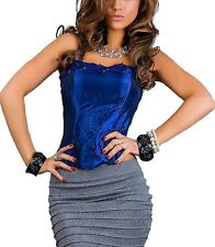 Satin Corset Bustier Corset Bandeau Top Corsage Shirt with pearls and lace Top