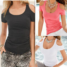Womens Simple Short Sleeve Sexy T Shirt Blouse Ladies Summer Off Shoulder Tops