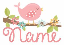 IRON ON TRANSFER / STICKER -  BIRD NAME PERSONALISED FLOWER PRETTY  FOR T-SHIRT