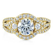 BERRICLE Gold Plated Sterling Silver CZ 3-Stone Halo Engagement Ring 2.08 Carat