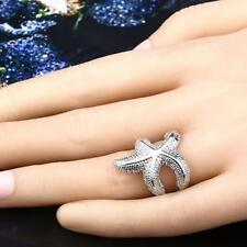 Fashion silver Plated Starfish Shape Finger Ring US size 9/8/7