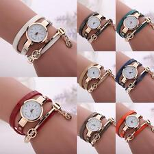 Hot Fashion Lady Men PU Leather Band Encircle Golden Tone Allover Wrist Watch