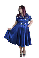 Plus size Vintage Pinup 60's sailor Navy Satin flare swing dress