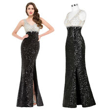 GK Sleeveless Crystal Mermaid Sequined High-Split Gown Evening Prom Party Dress