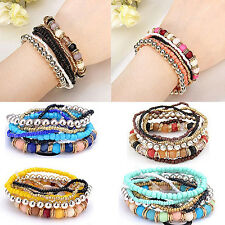 Dramatic  7 Layers Bohemian Beads Mixcolor Stretch Multilayer Bracelet