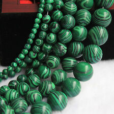 Delicate Natural Malachite Gemstone Round Spacer Loose Stone Bead Charm Jewelry