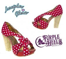 Irregular Choice Eyelash Flicker Red Polkadot Strappy Heel UK5/38
