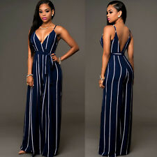 Sexy Women V-Neck Backless Rompers High Waist Wide-leg Trousers Pants Jumpsuits