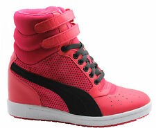 Puma Sky Wedge Womens Hi Top Trainers Pink Touch Fastener Strap Shoes 355427 06