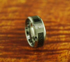 Tungsten Wedding Band With Carbon Fiber & CZ Inlay 8mm-Engagement Ring,Beveled