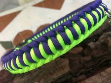 Half Hitch Knot Army Paracord Dog Collar, handmade in USA, All Dog Sizes