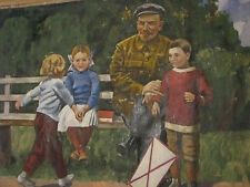 """70x100 RARE RUSSIAN PAINTING SOVIET REALISM OIL CANVAS """"LENIN and children"""" 60s"""