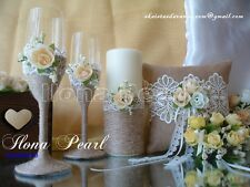 Gold White Ivory Rustic Wedding Personalized Champagne Toasting Glasses Flutes