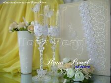 Rustic Lace Wedding Personalized Champagne Toasting Glasses Flutes Butterfly