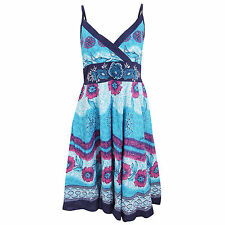 Womens/Ladies Flower Pattern Strappy Crossover Summer Dress