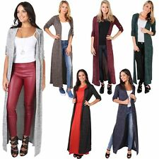 Women Ladies Soft Knit Casual Hooded Long Open Cardigan Sweater Shrug Jumper Top