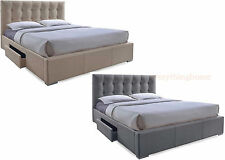 MODERN QUEEN OR KING LT BROWN OR GRAY UPHOLSTERED BED FRAME W/ STORAGE DRAWERS