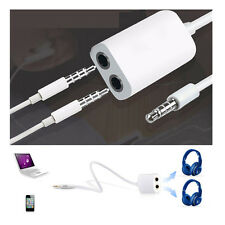 2x 3.5mm White Double Earphone Headphone Y Splitter Cable Cord Adapter Jack Plug