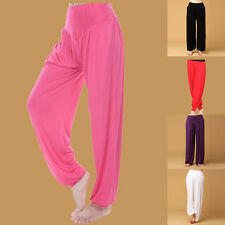 New Solid Fashion Harem Yoga Belly Dance Loose Casual Wide Leg Trousers Pants