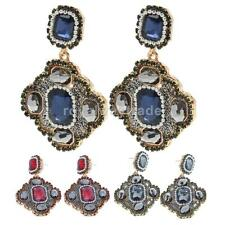 Luxury Womens Crystal Statement Square Dangle Drop Earrings Jewelry Fashion Gift