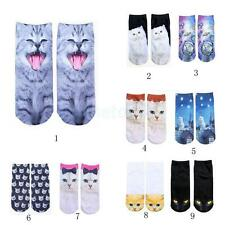 Cute Soft Pair of 3D Cat Print Socks 3D Animal Ankle Socks for Women