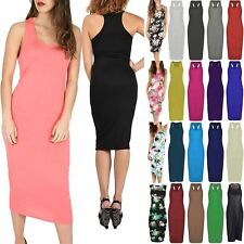 Womens Ladies Plain Sleeveless Stretchy Muscle Vest Racer Back Long Midi Dress