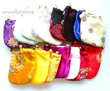 10-100pcs mixed color China silk draw string pouch bag jewelry marking USA EUB