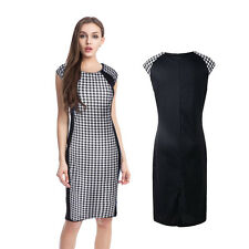 Elegant Women Houndstooth Celeb Office OL Party Bodycon Formal Pencil Dress New