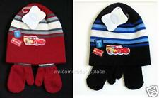 DISNEY Baby Boys Lightning McQueen Hat Mittens Mitts Set Red or Blue 0-24 m NEW