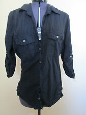 JAMES PERSE Women's Black Side Ribbed 3/4 sleeve Button front Shirt/Top  sz 3