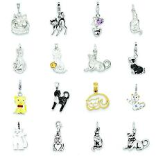 Sterling Silver & 14K Gold Cat Charm Pendant Jewelry