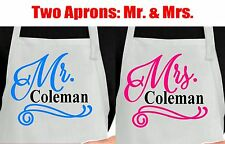Personalized Mr and Mrs apron.  Custom Mr and Mrs apron