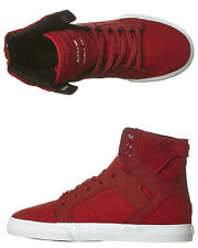 New Supra Boys Kids Skytop Hi Shoe Rubber Mesh Children Boys Shoes Red